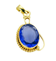 gorgeous Blue Shappire CZ Gold Plated Blue Pendant Glass handmade US - $5.63