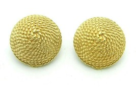 Marvella Gold Tone Rope Basket Style Round Clip Vintage Earrings - $19.79