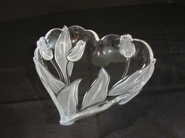 Mikasa Crystal Heart Serving Tray - Tulip Satin Glass - Made in Germany - $12.99