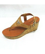 Lucky Brand Cork Wedge Heel Thong Sandals Platform Women Size 9 M Brown ... - $19.79