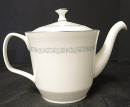 Large Tea or Coffee Pot * Minton China * Silver Scroll Pattern - $75.99