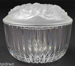 "Clear Glass Fluted Candy Dish With Frosted Rose Pattern Lid 4.5"" Wide Home Decor - $19.99"