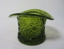 FENTON ART GLASS LARGE COLONIAL GREEN TOP HAT DAISY & BUTTON - $9.99