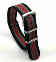 22mm X 255mm Nato Canvas Nylon wrist watch Band strap RED GREY BLACK GII - $14.22