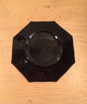 Vintage 60s Black Glass Octagon small plates/saucers- set of 5 image 5