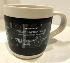 Starbucks 2009 Celebration Black White Chalkboard Coffee Mug Cup 18 fl oz Large - $14.25