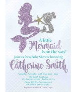 Mermaid Baby Shower Invitation, Teal and Lavender Under the Sea Baby Shower - $0.99