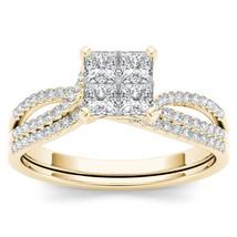 IGI Certified 14k Yellow Gold 0.75 Ct Princess Diamond Engagement Ring Set - $798.99