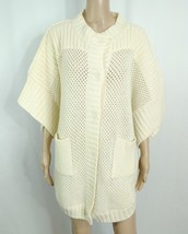 ANGEL Apparel Neiman Marcus Ivory Loose Knit Poncho Cardigan Batwing Jac... - $25.00