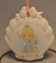 "Precious Moments - Shell Ornament - ""It's No Secret What God Can Do"" 1994 - $10.06"