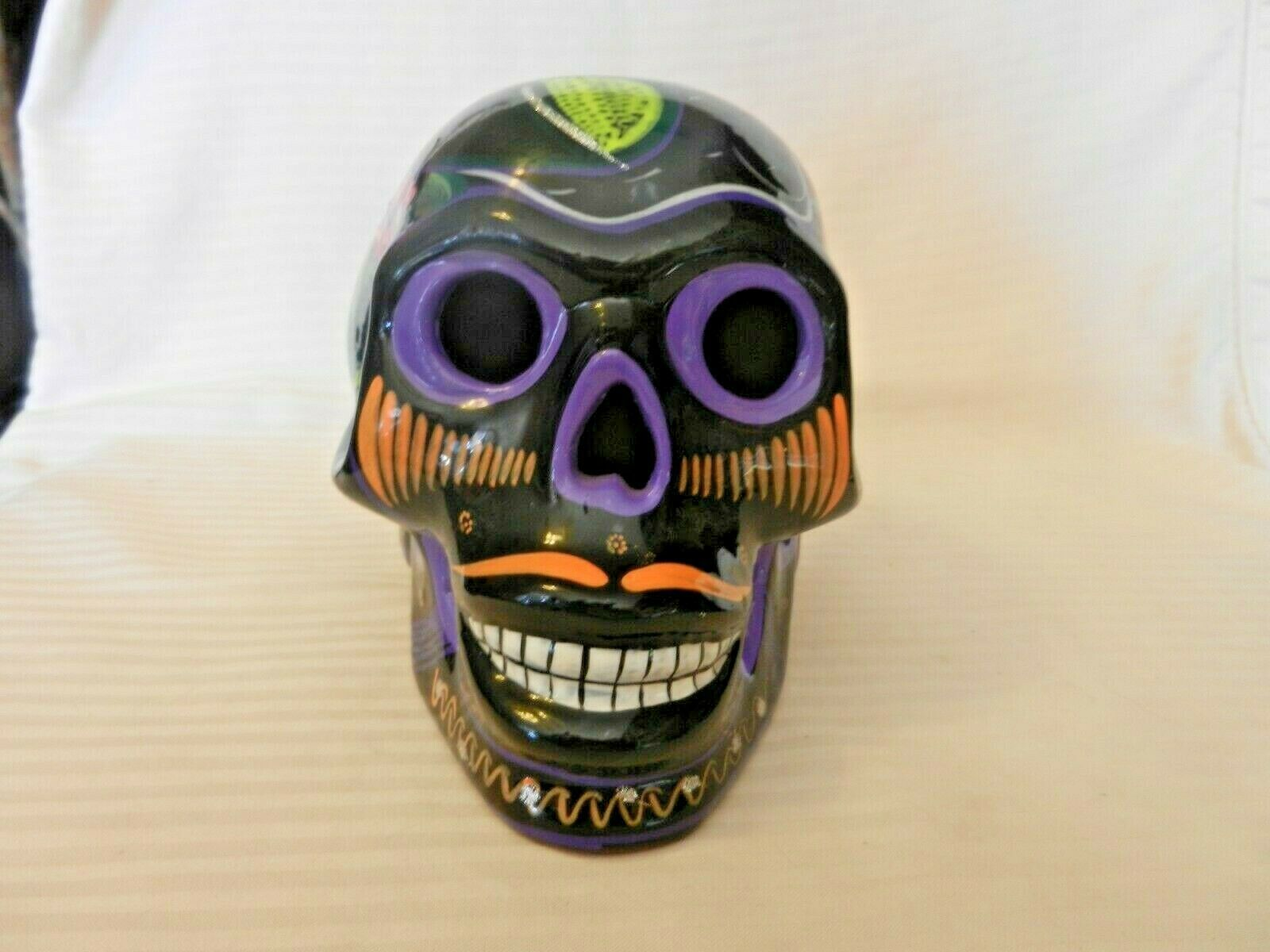 "Primary image for Black Ceramic Day Of The Dead Skull Multi Colored Hand Painted 6"" Tall"