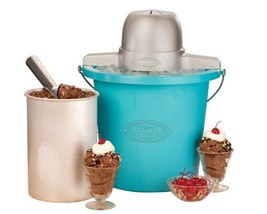 Nostalgia ICMP400BLUE 4-Quart Electric Ice Cream Maker with Easy Carry H... - $37.95