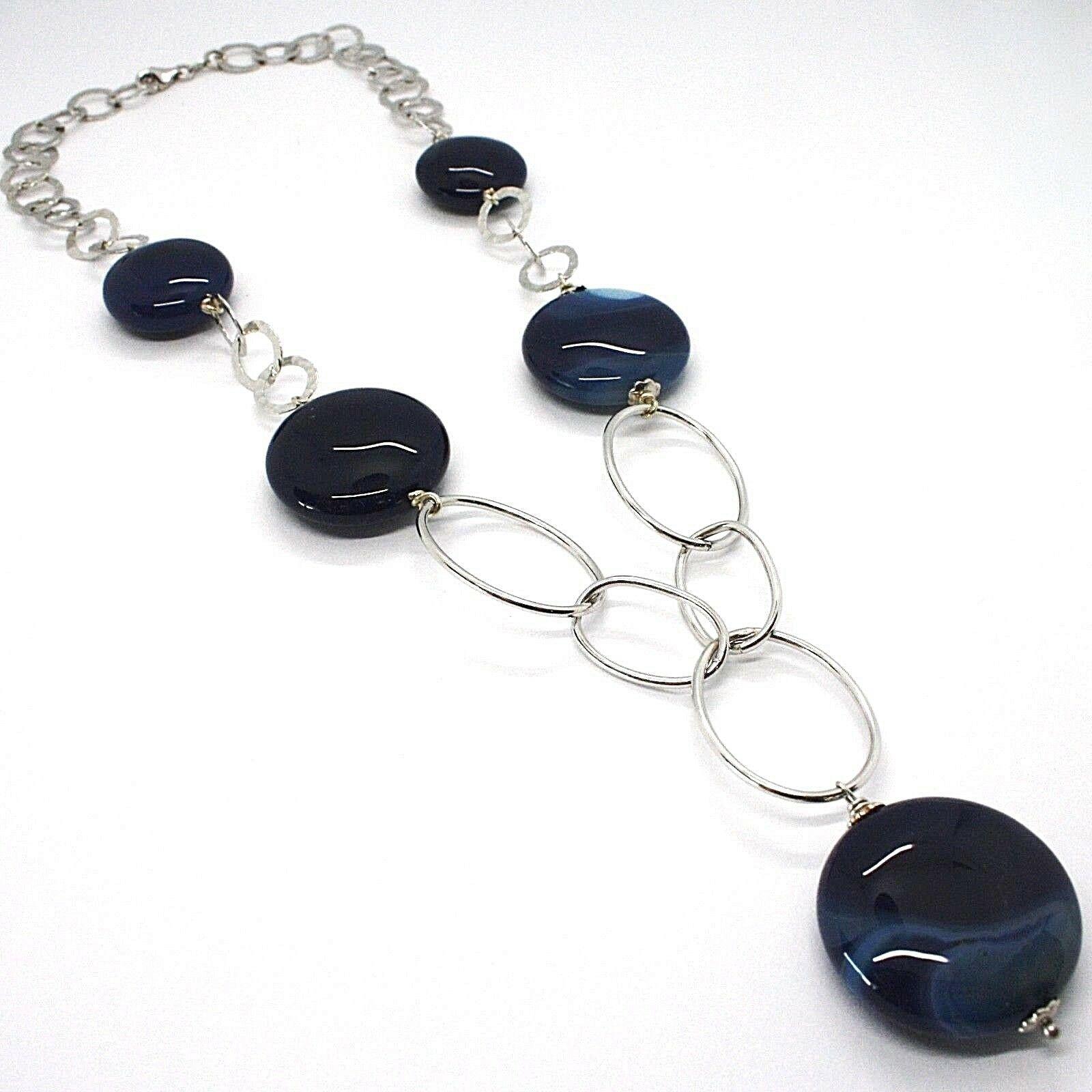 925 Silber Halskette,Achat Blau Gebändert,Disco,mit Charm Anhänger,Länge 50 CM