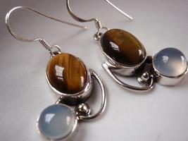 New Tigers Eye Chalcedony Dangle 925 Silver Earrings - $27.67