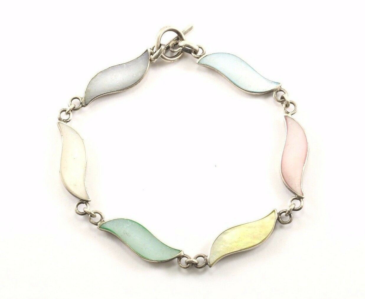 Vintage Wave Design Multi Color Stone Link Bracelet 925 Sterling BR 1206