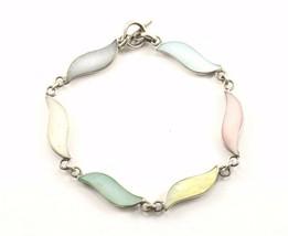 Vintage Wave Design Multi Color Stone Link Bracelet 925 Sterling BR 1206 - $40.55