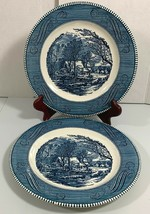 """Currier & Ives 10"""" Dinner Plates Lot of 2 Blue /White Old Grist Mill Royal China - $13.95"""