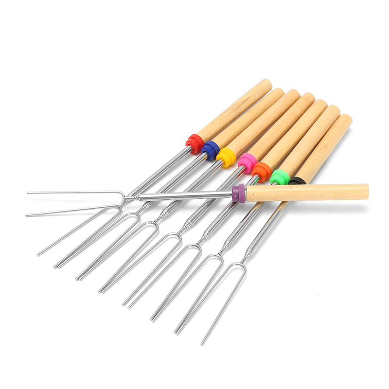 Barbecue Fork Stainless Steel Camping Wooden Handle Barbecue Roasting Needle