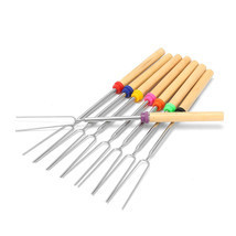 Barbecue Fork Stainless Steel Camping Wooden Handle Barbecue Roasting Ne... - £18.10 GBP