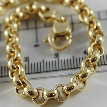 18K YELLOW GOLD BRACELET 7.9 IN, BIG ROUND CIRCLE ROLO LINK 5.5 MM MADE IN ITALY image 2