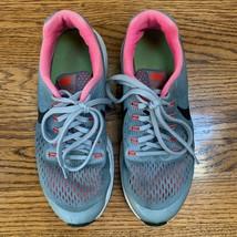 NIKE Sz 5.5 Y Air Zoom Pegasus 34 Women's Running Shoes Gray/Pink Sneakers - $17.81