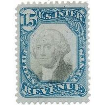 1871 15c U.S. Internal Revenue, Washington, Blue & Black Scott R110 Used - $37.00