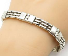 925 Sterling Silver - Vintage Rope Twist Designed Hinge Chain Bracelet -... - $121.23