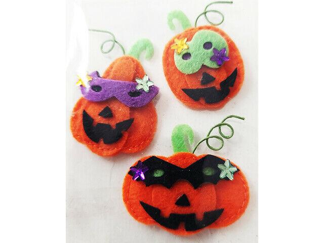 Halloween Dimensional Felt Pumpkin Stickers, Set of 3