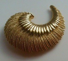 Vintage Signed Monet Gold-tone Textured Swirl Brooch - $18.80