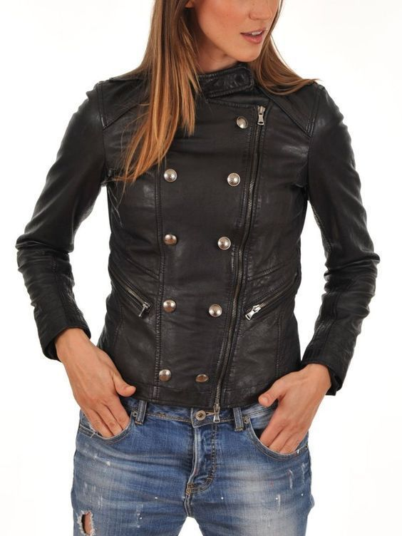 WOMEN BIKER MOTORCYCLE CASUAL SLIM FIT RIDER REAL GENUINE  LEATHER JACKET-A35