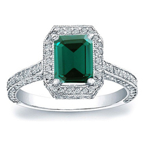 Solitaire W/ Accents Ring Rectangular Shape Green Sapphire White GP 925 ... - $77.99