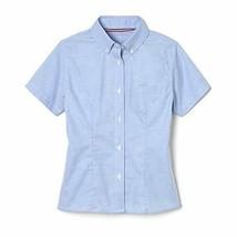 French Toast Girls Oxford Button Down Short Sleeve Uniform Shirt Blue Si... - $12.67