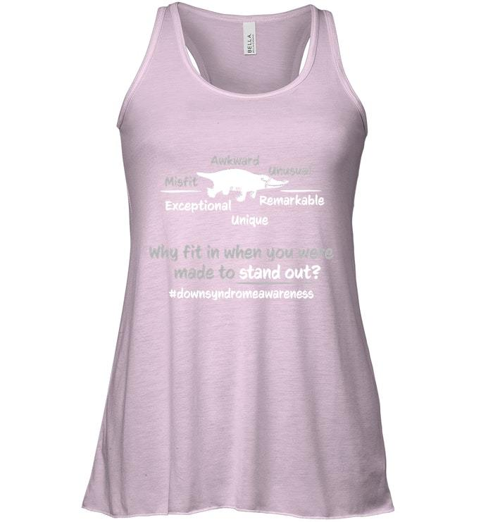 Down Syndrome Awareness Flowy Racerback Tank Kids Adults Why Fit In image 3