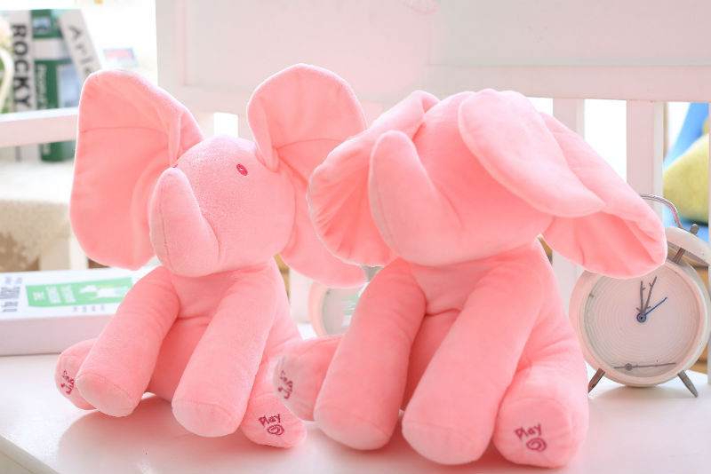 Elephant Peek A Boo Plush Toy Baby Animated Flappy Play Music Birthday Cute Gift