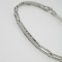 18K WHITE GOLD BRACELET WORKED PLATE ALTERNATE SQUARE DOUBLE LINK, ITALY MADE image 2