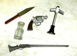 DIARAMA COLLECTIBLE MINATURE GUNS ,STREET SIGN,KNIFE & MILK BOTTLE 5 ITE... - $7.99