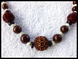 Vintage Art Deco Carved Celluloid & Glass Bead Necklace in Rich Fall Colors - $35.00