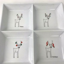 """BIA Stoneware Reindeers Cheers Square Christmas Sectioned Serving Dish 10"""" - $39.59"""