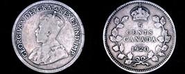 1920 Canada 5 Cent World Silver Coin - Canada - George V - $6.75
