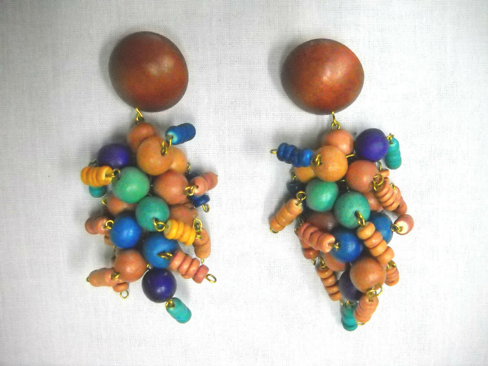 Primary image for CHUNKY CLUSTER DROP BROWN BLUE PURPLE TAN COLOR BEADS DANGLING POST EARRINGS