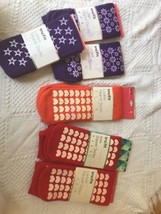 Set of 6 Women's Tru-fit Slipper Socks With Non skid Soles size 9-11 Spandex  - $24.23