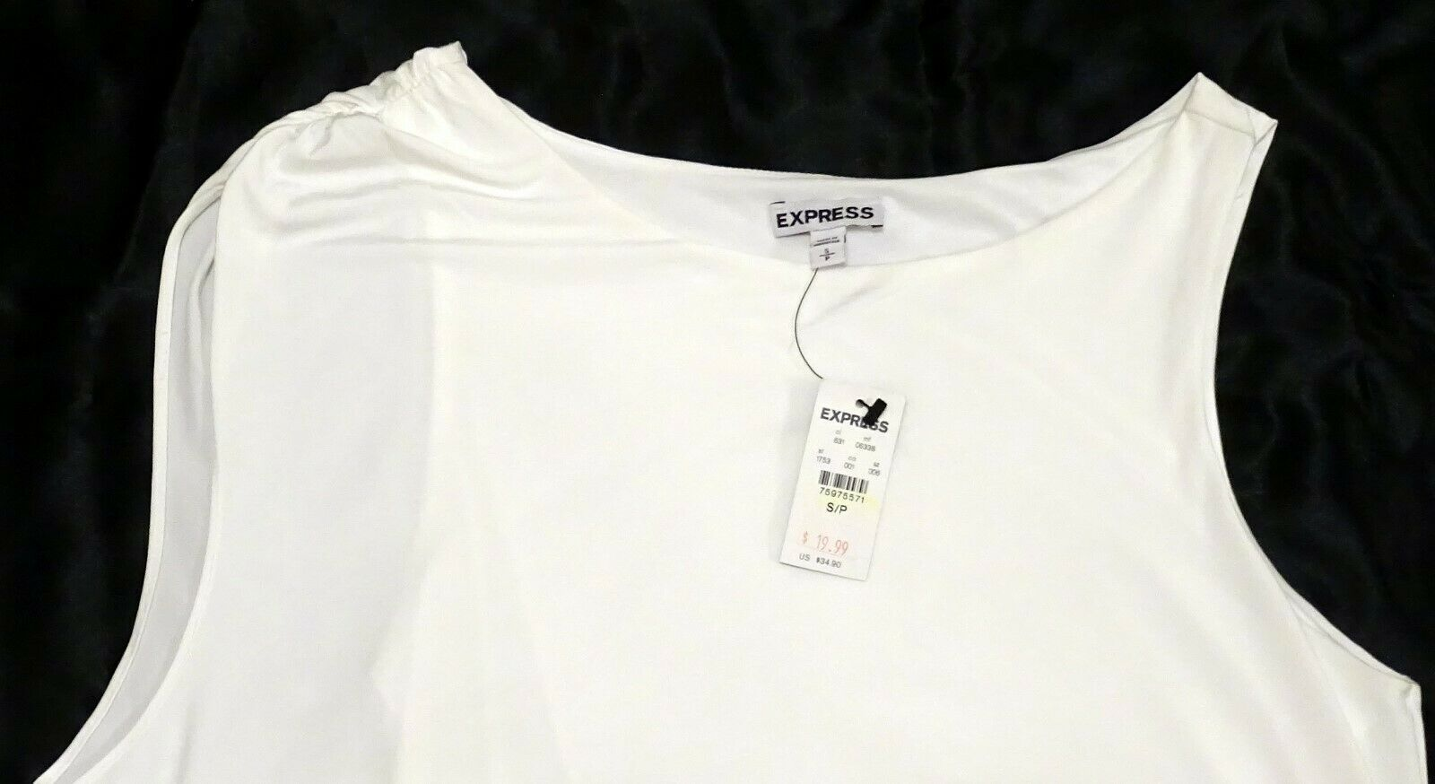 NEW EXPRESS $35 WHITE ASYMMETRIC DRAPED LINED SLEEVELESS DRESSY TOP BLOUSE S image 4