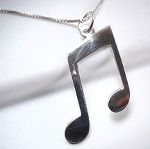 Musical Eighth Note Pendant 925 Sterling Silver Musician Sheet Music Compose - $7.91