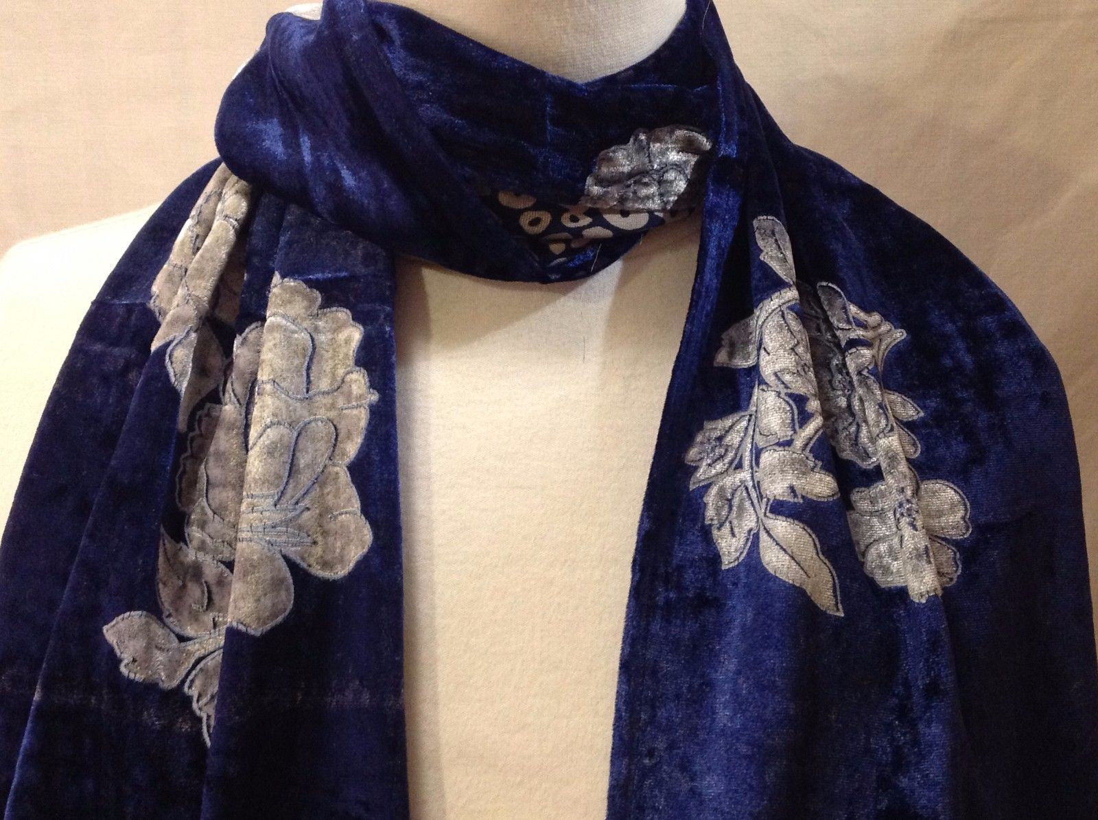 Gorgeous Combo Scarf Velvet and Satin floral vintage rose abstract color choice