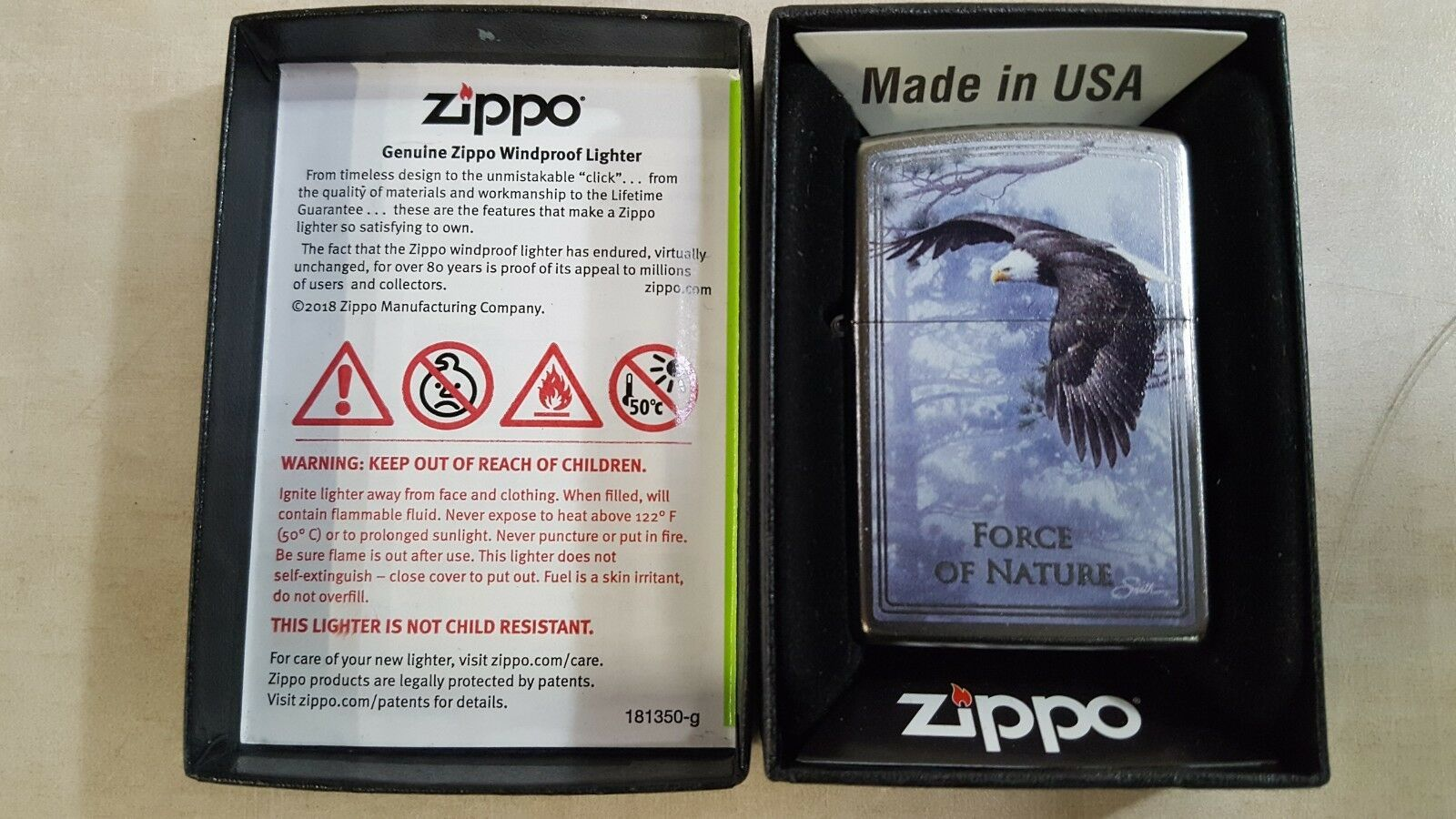 Zippo Limited Edition 'Force of Nature' Eagle Chrome Lighter