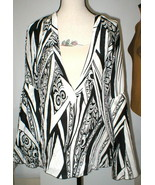 New NWT Womens 10 Italy Designer Silk Blouse Just Cavalli 46 Black White... - $355.05