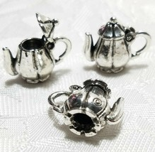 TEAPOT WITH MOVEABLE LID CHARM FINE PEWTER PENDANT CHARM 10x19x15mm image 1