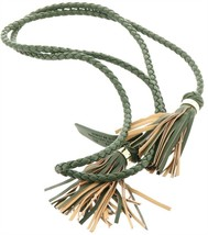 C Wonder Faux Leather Braided Tie Belt Tassels Forest Green M-L NEW A277214 - $12.84