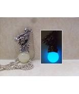 Chinese Dragon Head GLOW IN THE DARK Orb Fantasy Silver Charm Pendant Ne... - $15.50
