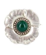 Antico Raro George Jensen Nouvea Sterling Rotondo Verde Agata Papavero S... - $1,800.05